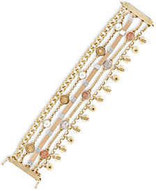 Lucky Brand Two-Tone Multi-Stone & Leather Multi-Row Flex Bracelet
