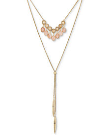 "Lucky Brand Gold-Tone Multi-Stone Layered Lariat Necklace, 16"" + 2"" extender"