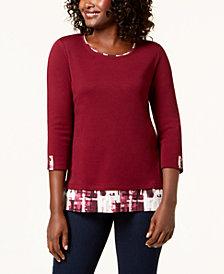 Karen Scott 3/4-Sleeve Layered-Look Top, Created for Macy's