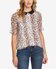 CeCe Printed Sheer Collar Top