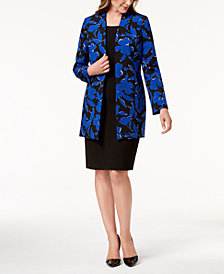 Kasper Floral-Print Topper Jacket