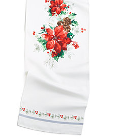 "Bardwil Christmas Poinsettia Watercolor 13"" x 70"" Table Runner"