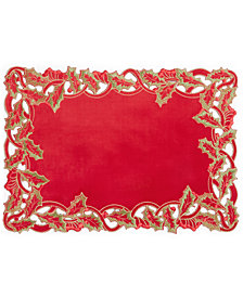 "Elrene Holly Twist Velvet 13"" x 19"" Placemat"