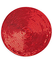 "Elrene Sparkle Motion Sequin Red 15"" Round Placemat"