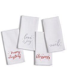 Homewear Holiday Metallic Words 18'' x 18'' 4-Pc. Napkin Set