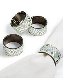 Leila's Linens Silver Bling 4-Pc. Napkin Ring Set