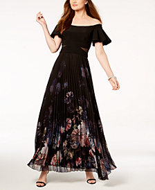 XSCAPE Off-The-Shoulder Mesh-Inset Gown