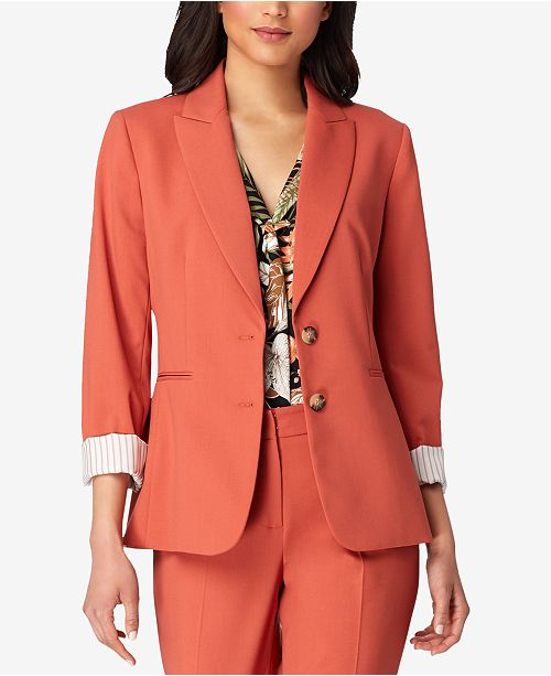 amp; Two Button Terracotta Jacket Regular Petite Tahari ASL nXqxg6wzZ