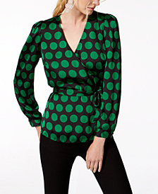 I.N.C. Dot-Print Wrap Top, Created for Macy's