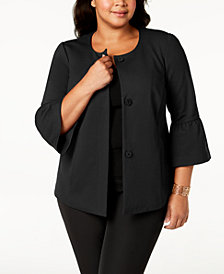 Alfani Plus Size Ponté-Knit Ruffle-Cuff Jacket, Created for Macy's
