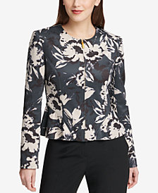 DKNY Floral-Print Peplum Jacket, Created for Macy's