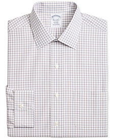 Brooks Brothers Men's Regent Slim-Fit Non-Iron Blue Brown Medium Windowpane Dress Shirt