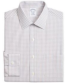 Brooks Brothers Men's Regent Slim-Fit Non-Iron Blue Brown Medium Windowpane Dress Shirt