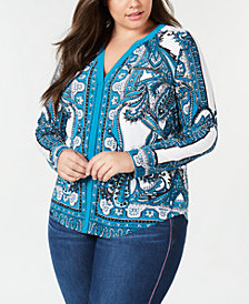 I.N.C. Plus Size Printed Split-Neck Top, Created for Macy's