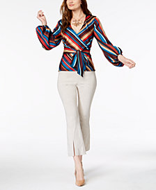 I.N.C. Wrap Top & Cropped Pants, Created for Macy's