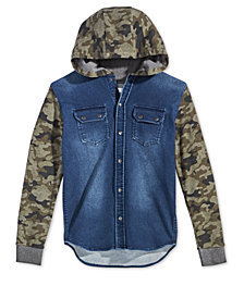 Epic Threads Big Boys Layered-Look Camo-Print & Denim Hoodie, Created for Macy's