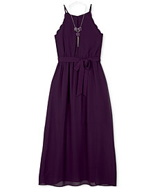 BCX Big Girls 2-Pc. Scalloped Maxi Dress & Necklace Set