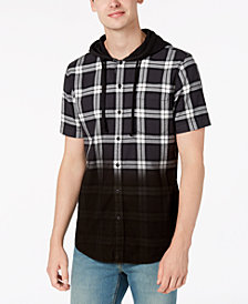 American Rag Men's Camden Dip-Dye Plaid Hooded Shirt, Created for Macy's