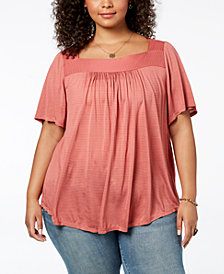 Lucky Brand Trendy Plus Size Shadow Stripe Top