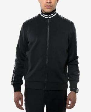 Sean John Men's Logo Taping Neoprene Track Jacket In Black