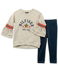 Tommy Hilfiger Little Girls 2-Pc. Bell-Sleeve Sweatshirt and Denim Leggings Set