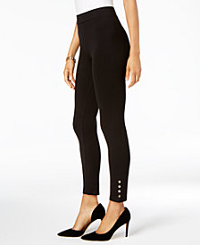 JM Collection Tummy-Control Studded Skinny Pants, Created for Macy's