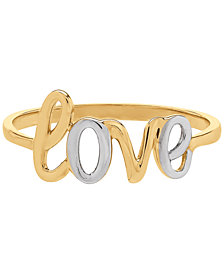 """Two-Tone Scripted """"Love"""" Ring in 14k Gold & Rhodium-Plate"""