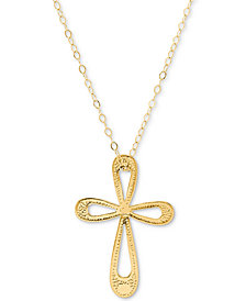 "Open Cross 17"" Pendant Necklace in 10k Gold"