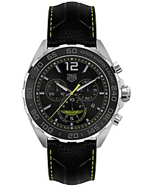 LIMITED EDITION Men's Swiss Chronograph Formula 1 Aston Martin Matte Black Leather Strap Watch 43mm - a Limited Edition
