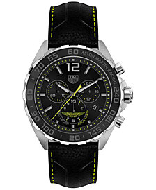 LIMITED EDITION TAG Heuer Men's Swiss Chronograph Formula 1 Aston Martin Matte Black Leather Strap Watch 43mm - a Limited Edition