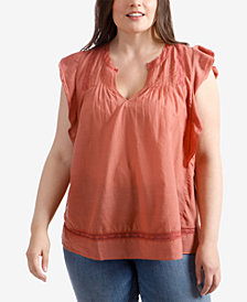 Lucky Brand Trendy Plus Size Pintucked Top