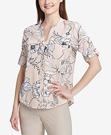 Calvin Klein Printed Roll-Tab-Sleeve Top