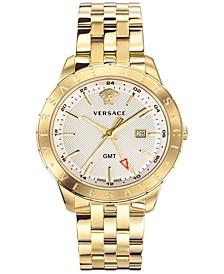 Men's Swiss Business Slim Champagne Stainless Steel Bracelet Watch 43mm