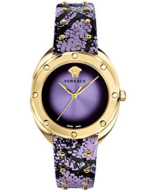 Versace Women's Swiss Shadov Lavender Elaphe Leather Strap Watch 38mm
