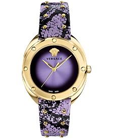 Versace Women's Swiss Shadov Lavender Elaphe Leather Strap Watch 38mm