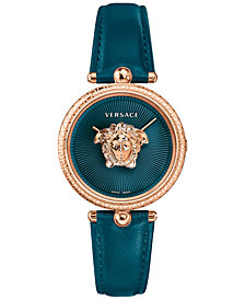 Versace Women's Swiss Palazzo Empire Teal Leather Strap Watch 34mm