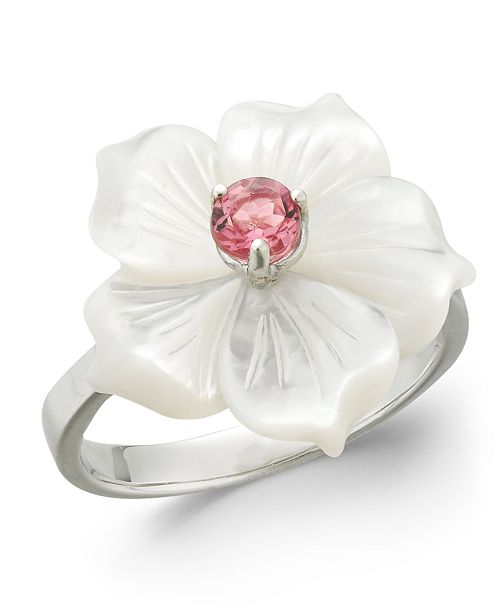 Macy's Pink Tourmaline (1/4 ct. t.w.) & Mother-of-Pearl Flower Ring in Sterling Silver