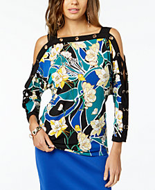Thalia Sodi Embellished Cold-Shoulder Top, Created for Macy's