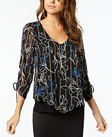 Thalia Sodi Printed Ruched-Cuff Top, Created for Macy's