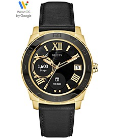 Connect Men's Black Leather Strap Touchscreen Smart Watch 44mm