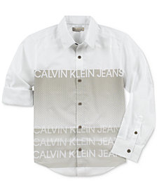 Calvin Klein Big Boys Logo Cotton Shirt