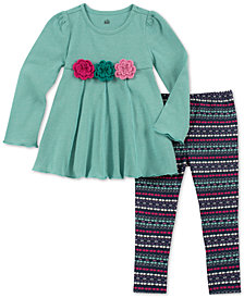 Kids Headquarters Baby Girls 2-Pc. Flower Tunic & Printed Leggings