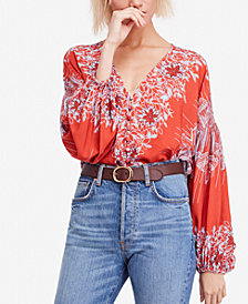 Free People Birds of a Feather Printed Peasant Top