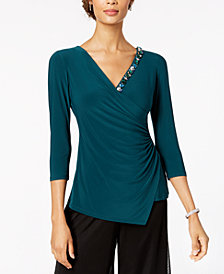 MSK Embellished Faux-Wrap Top