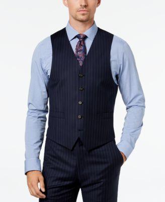 Men's Classic-Fit UltraFlex Stretch Navy Pinstripe Suit Vest
