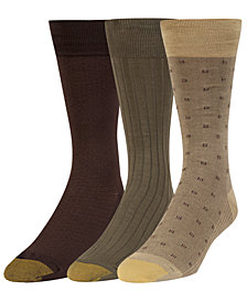 Gold Toe Men's 3-Pk. Extended-Size Dress Socks
