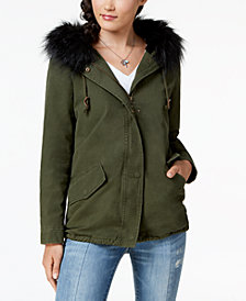 Jou Jou Juniors' Faux-Fur-Trim Hooded Anorak