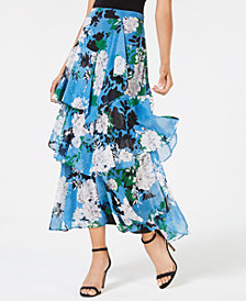 I.N.C. Tiered Floral-Print Skirt, Created for Macy's
