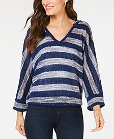 I.N.C. Textured-Knit Striped Hooded Top, Created for Macy's