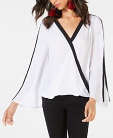 I.N.C. Contrast-Stripe Surplice Top, Created for Macy's